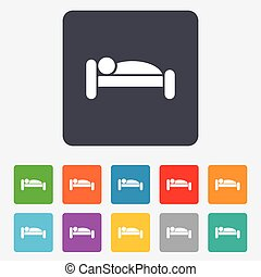Human in bed icon. Rest place. Sleeper symbol. - Human in...