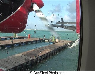 Seaplane taking off for Maldives Islands
