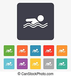 Swimming sign icon. Pool swim symbol. Sea wave. Rounded...