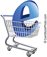 Ecommerce - Illustration of a shopping cart with a large E...