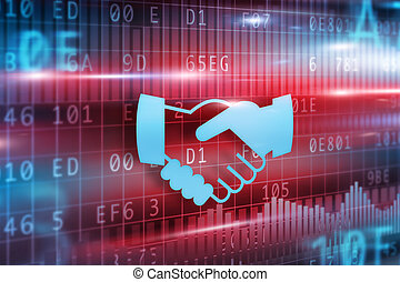 Handshake abstract with red background blue hands