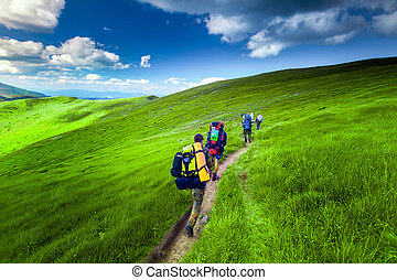 Young people hiking - Young people are hiking in Carpathian...