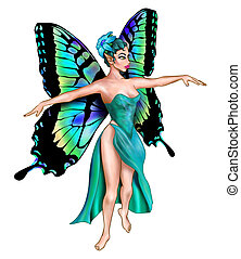 Beautiful Turquoise Fairy - Isolated illustration of a...