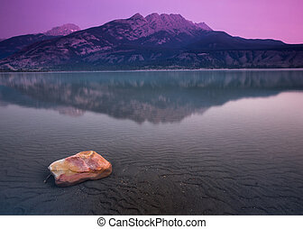 Sunrise at Jasper Lake - The sunrise at Japser Lake and...