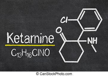 tableau noir, à, les, chimique, formule, de,...