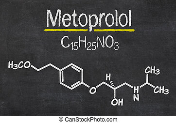 Blackboard with the chemical formula of Metoprolol