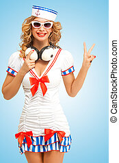 V as Vintage - Retro photo of a fashionable pin-up sailor...