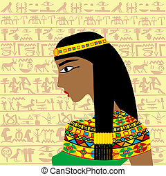 Ancient Egyptian woman profile over a background with...