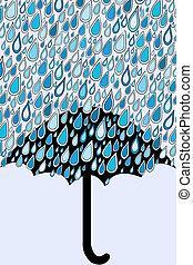 Umbrella and blue rain drops