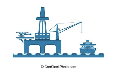 Offshore oil platform. Vector illustration.