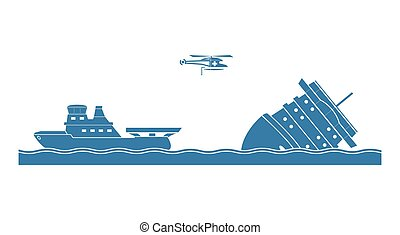 Salvage operation. Vector illustration.