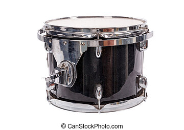 black music bass drum on white background - photo of black...