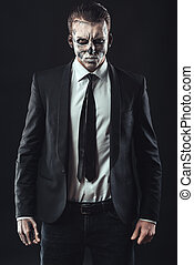 Portrait serious businessman makeup skeleton - Portrait...