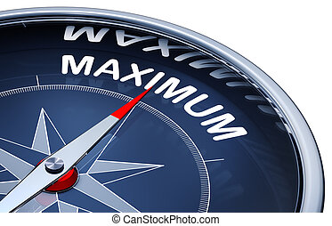 maximum - 3D rendering of a compass with a maximum icon