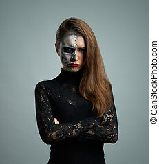 beautiful woman with makeup skeleton - beautiful pouted...