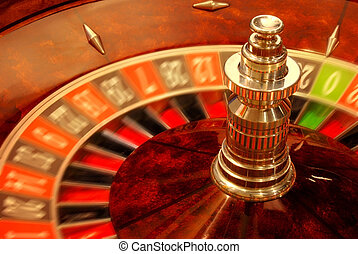 Rolling casino roulette - Close up of casino roulette in...