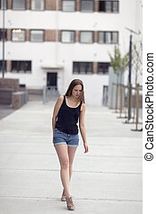 Urban nordic fashion woman model walks in the city - Pretty...