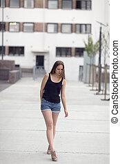 Urban nordic fashion woman model walks in the city - Pretty...