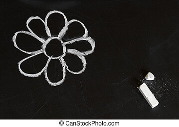 Chalk flower - White flower on a blackboard, child chalk...
