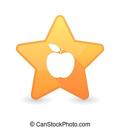 Isolated star icon with a fruit