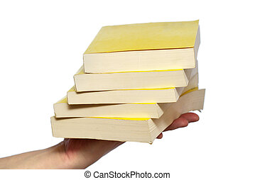 Books of knowledge - Pack of books in one hand isolated on...