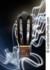 Acoustic guitar - Neck of acoustic guitar with lighting...
