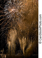 Fireworks in Bordeaux - Golden fireworks in Bordeaux on the...