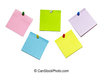 Sticker notes - Five colored sticker notes with push-pins...