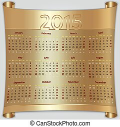 Calendar 2015 vector Sunday first american week 12 months...