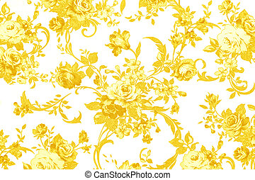 gold rose on white fabric background, Fragment of colorful...