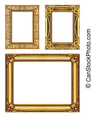 set 3 of Vintage frame with blank space, clipping path