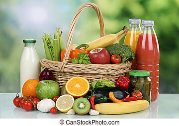 Fruits, vegetables and beverages in a shopping basket