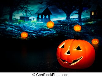 Halloween night background with scary house and pumpkins