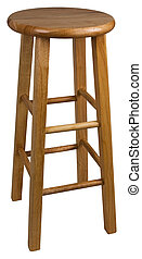 Wood Bar Stool  - Solid Wood Bar Stool In Natural Finish