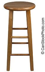 sólido, madera, barra, taburete