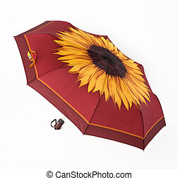 Bright umbrella, automatically opening, sunflower ornament