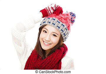 happy young beautiful woman in winter clothes isolated on white