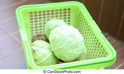cabbage in basket - fresh cabbage is in the green basket