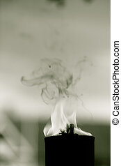 Movement of fire flame vigil light outdoor Black white photo...