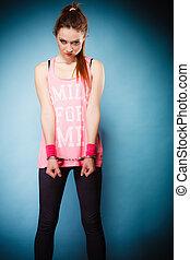 teen crime - teenager girl in handcuffs - Teen crime, arrest...
