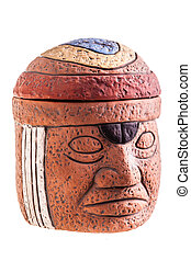 Olmec Idol - a terracotta olmec face idol souvenir isolated...