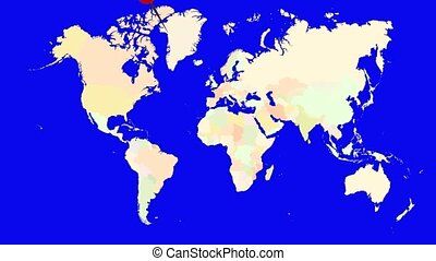 Worldmap Zooms to Spain - A pin marks the country Spain on a...