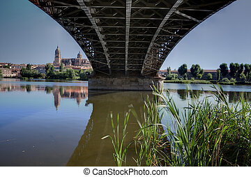 Under the Bridge Sanchez Fabres in Salamanca over Tormes...