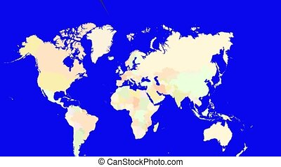 Worldmap Zooms to Finland - A pin marks the country Finland...