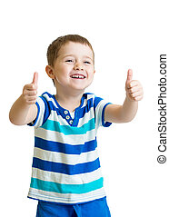 happy kid boy with hands thumbs up isolated on white