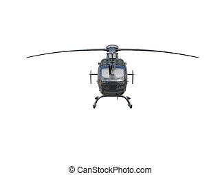 Military helicopter on white background, isolated object