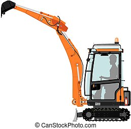 Compact excavator. Vector without gradients on one layer.