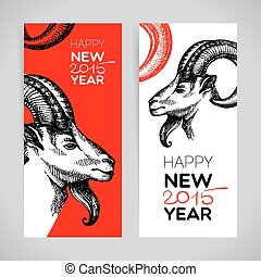 Happy New Year and Merry Christmas banner set. Hand drawn...