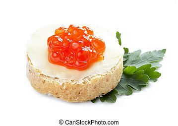 Red caviar open sandwich - Red caviar with bread and butter...