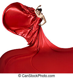 Young beauty woman in fluttering red dress. Isolated on...